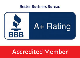 bbb logo with a+ rating and red bar stating cds is an accredited member