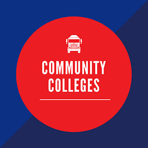 blue box with red circle in middle saying Community Colleges