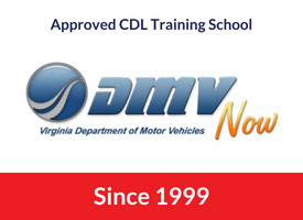 Virginia DMV logo with red bar stating CDS is an approved school since 1999