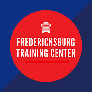 blue box with red circle in middle saying Fredericksburg Training Center