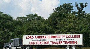 lord fairfax training truck in yard