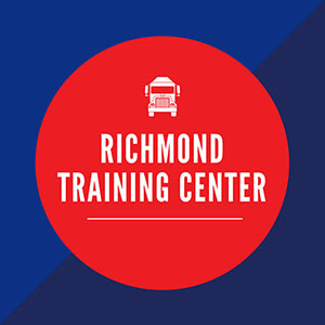 blue box with red circle in middle saying Richmond Training Center