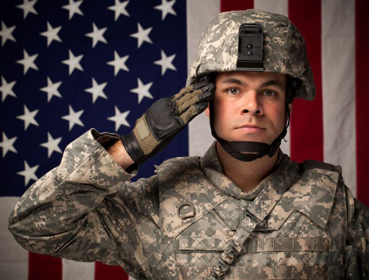 Image of military soldier saluting in front of the American flag