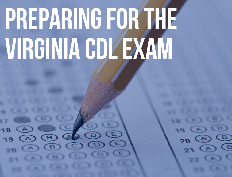 "Image of a pencil filling in multiple choice test. Text over image reads: ""Preparing for the Virginia CDL Exam"""
