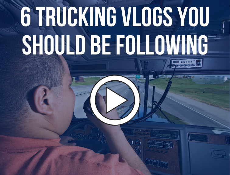 "Image of truck driver behind the wheel of a big rig talking on the radio. Text over image reads ""6 trucking vlogs you should be following"""