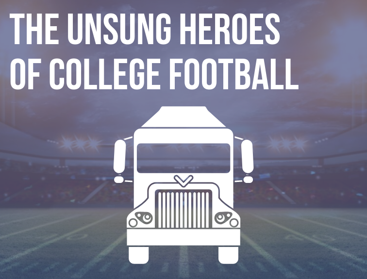 "Image of football stadium with overlay of a graphic of semi. Text over image reads: ""The Unsung Heroes of College Football"""
