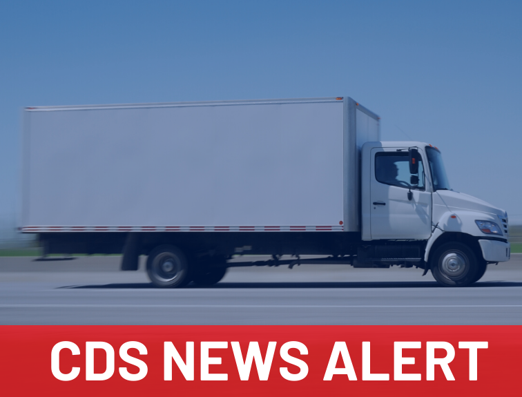 "Image of white CDL class b truck driving on highway. Text over image reads ""CDS NEWS ALERT"""
